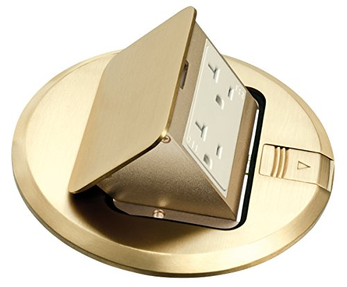 Arlington Industries FLBT6615MB-1 Pop-Up Trapdoor Cover with 15-Amp Receptacle and Gasket, Brass, 1-Pack by Arlington Industries