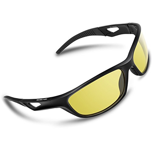 RIVBOS Polarized Sports Sunglasses Driving Sun Glasses For Men Women TR 90 Unbreakable Frame For Cycling Baseball Running Rb831 (Black Night - Glass Sun