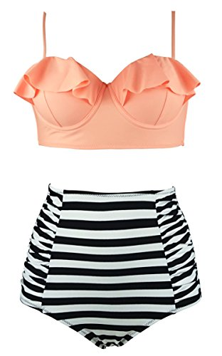 Cocoship Orange Pink & Black White striped Vintage Flounce Falbala High Waist Bikini Set Tiered Swimsuit Bathing Suit (Striped Womens Swimsuit)