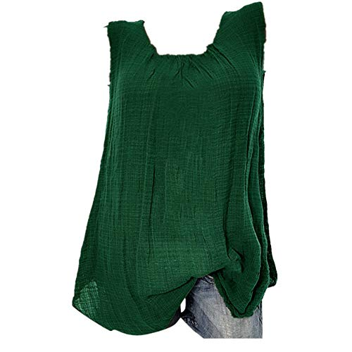 Cotton Linen Tops for Women,Sleeveless Baggy Solid Color Vest Tee Blouse Tank Tops Plus Size S-5XL Chaofanjiancai Green