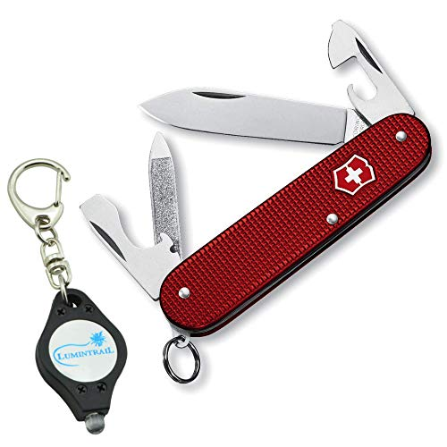 Victorinox Key Army Fob Swiss - Victorinox Swiss Army Cadet Alox Pocket Knife 9 Functions Bundle with Lumintrail Keychain Light (Red)