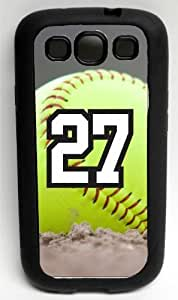 Softball Sports Fan Player Number 27 Decorative Black Rubber Samsung Galaxy S3 Case by icecream design