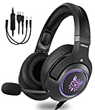 ONIKUMA Gaming Headset for Xbox One,PS4, PC, 3.5mm Stereo Wired Over Ear Gaming Headphone with Mic, Noise Cancelling & Volume Control USB LED Deep Bass Game Headphones for Laptop Mac Nintendo Switch