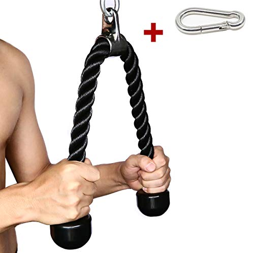 (Tricep Rope Fitness Attachment Cable Machine Pulldown Heavy Duty Coated Nylon Rope with Solid Rubber Ends (Black, 27))