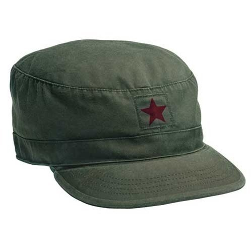 (Rothco Vintage Fatigue Cap, Olive Drab with Red Star, X-Large)