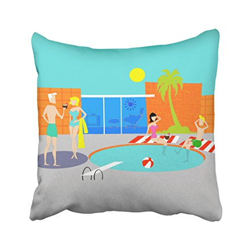 Decorativepillows Case Throw Pillows Covers for Couch/Bed 18 x 18 inch,Retro Pool Party Pool Party Vintage Pool Party Home Sofa Cushion Cover Pillowcase Gift Bed Car Living - Palm Vintage Throw