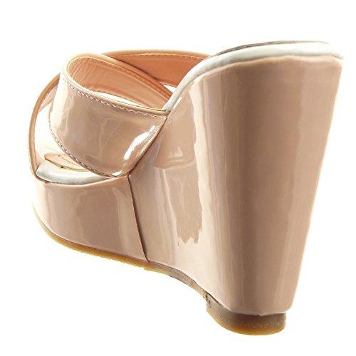 Sopily - Scarpe da Moda sandali Aperto Zeppe alla caviglia donna lucide metallico Tacco zeppa piattaforma 11 CM - Rosa