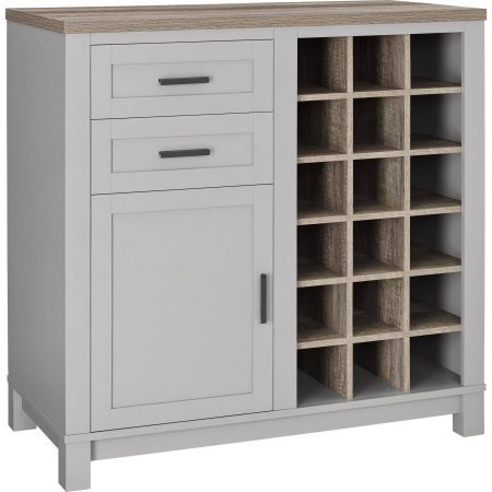Langley Bay Wine Cabinet with 18-Cubbies, 2 drawers And 1 Door, Gray