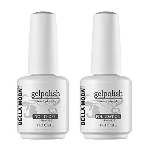 BELLA MODA 15ml Nail Gel Soak Off Gel Nail Polish Remover No Wipe Top Coat and Base Coat Primer Foundation (Best Gel Base And Top Coat)