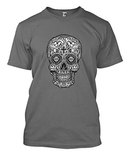 Sugar Skull Cross - Religious Day of The Dead Men's T-Shirt (Charcoal, -