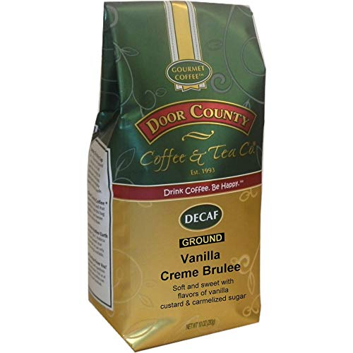 (Door County Coffee, Vanilla Crème Brulee Decaf, Ground, 10oz Bag)