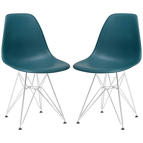 Poly and Bark Padget Side Chair, Teal, Set of 2