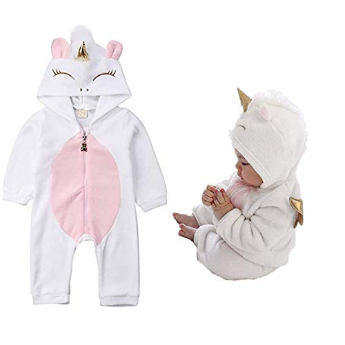 Baby Girl 0-3 Halloween Costumes (Baby Girls 3D Unicorn Angel Wings Hooded Zipper Romper Jumpsuit Outfits Clothes Pink)