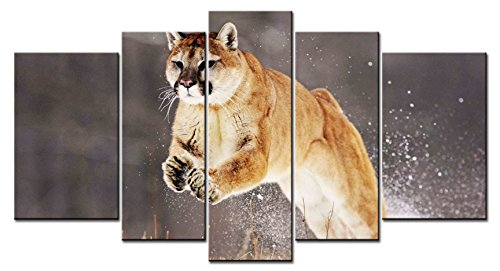 SmartWallArt - Animal Series Home Decor Artwork a Golden Grey Leopard Cat Jumping Across Small Pool Wall Art 5 Piece Paintngs Print on Canvas Framed for Living Room