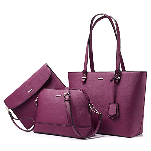 Handbags for Women Tote Bag Shoulder Bags Fashion Satchel Top Handle Structured Purse Set Designer Purses 3PCS PU Stand Gift Sexy Purple ()