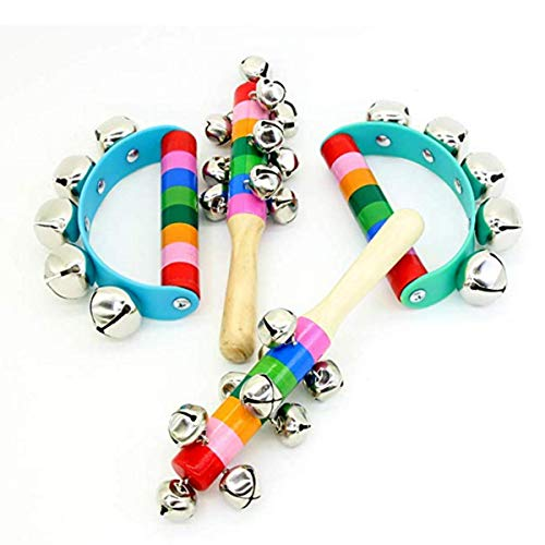 4 Pcs Vivid Color Rainbow Handle Wooden Bells Jingle Stick Shaker Rattle 5/10 Jingle Bells Baby Kids Children Musical - Baby Bell