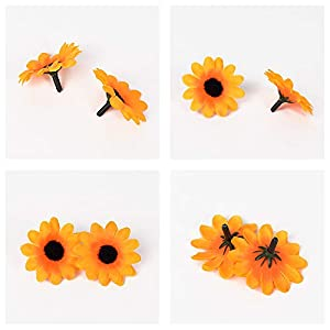 HZOnline Artificial Silk Daisy Flower Heads, Fake Fabric Gerbera Floral Head for DIY Easter Eggs 3