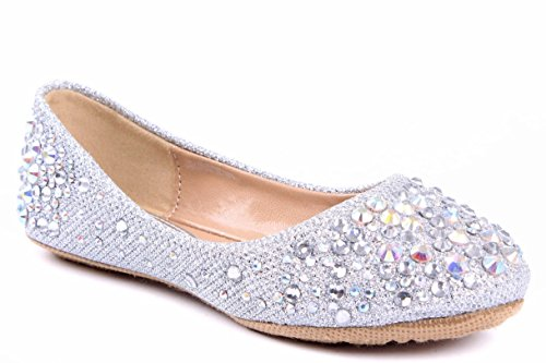 JJF Shoes LARISA Kids Silver Loafer Slip Rhinestone Fashion Glitter Ballet Flats (Ballet Slip Flats)