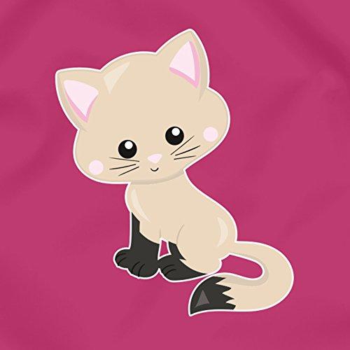 plot4u Turnbeutel Katze Kitty Sportbeutel für Schule Sport Sporttasche Bag Base® BG10 Gymsac 45x34cm lime grün/farbiger Aufdruck Fuchsia/Farbiger Aufdruck