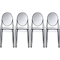 2xhome - Set of Four (4) - Smoke - Victoria Style Ghost Side Chairs Dining Room Chairs