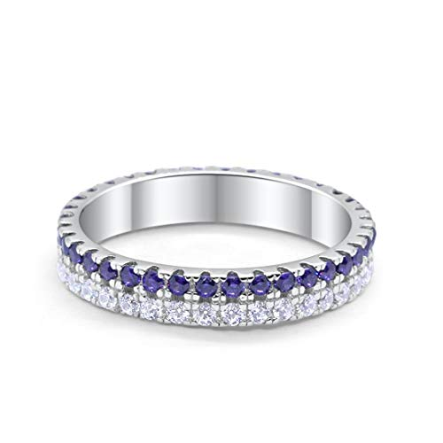 Blue Apple Co. 4mm Full Eternity Stackable Band Ring Double Row Round Simulated Amethyst CZ 925 Sterling Silver, Size-8 ()