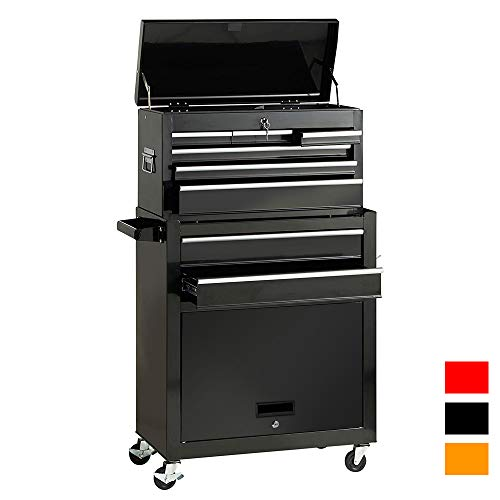 2Pcs Tool Storage Box Portable Top Chest Rolling Tool Box Organizer Sliding Drawers Cabinet Keyed Locking System Toolbox Black by Suny Deals (Image #7)