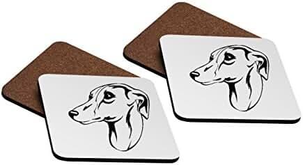 Whippet Head Black 4''x4'' Hardboard Coasters - Set of 4