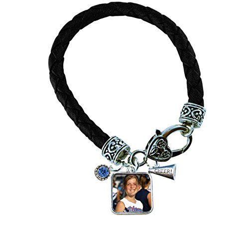 Holly Road Photo Cheer Megaphone Choose Crystal Color Square Black Leather Bracelet Upload Your Photo
