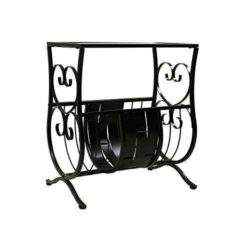 (Circlelink Metal Magazine Table with Glass Top, Black)