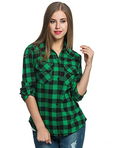 HUFCOR Women's Checkered Buffalo Casual Button-Down Plaid Shirt Country Style(Green,L) ()
