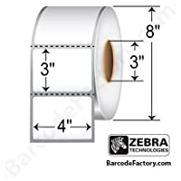 Zebra Technologies 10000302 Z-Perform 1000D Paper Label, Direct Thermal, 4 x 3, 3 Core, 8 OD, 2000 Labels per Roll (Pack of 4)