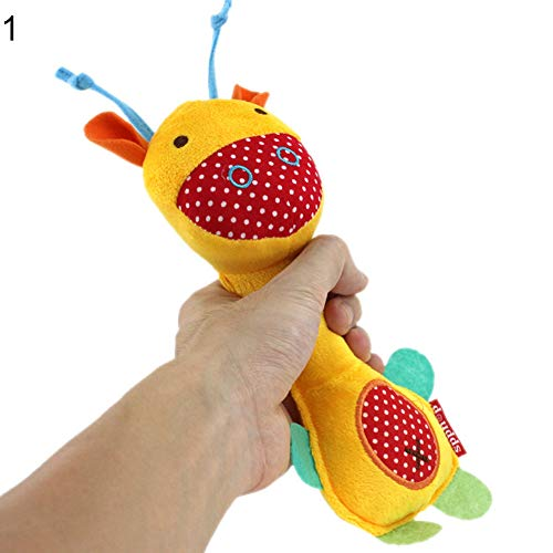 Teydhao Cartoon Donkey Monkey Stuffed Baby Soft Plush Hand Rattle Toy Squeaker Stick Baby Rattles Teether, Shaker, Grab and Spin Rattle, Musical Toy for 3, 6, 9, 12 Month Baby Infant, Newborn (Donkey)