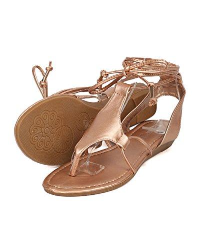 Alrisco Kvinnor Läder Gladiator Sandal - Micro Kil Sandal - Fotled Wrap Sandal - Gi51 Av Ökade Guld Metallic