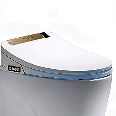 Elongated Bidet Toilet Seat, Smart WiFi Remote Control Cleaning Warm Water LED Nightlight Warm Air Dryer Nozzle Oscillation Water Spray with Heated - Constipation Relief