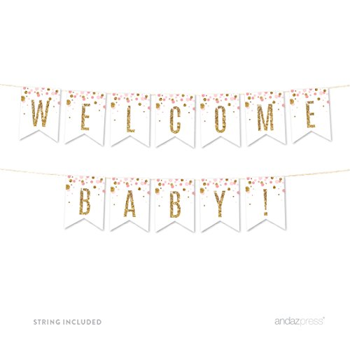 Andaz Press Blush Pink Gold Glitter Girl Baby Shower Party Collection, Hanging Pennant Party Banner with String, Welcome Baby!, 5-Feet, 1 Set -