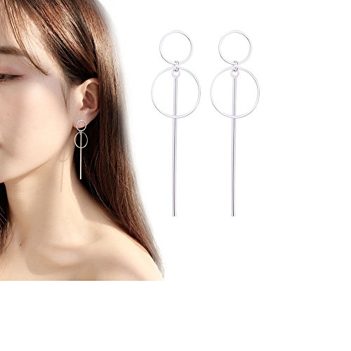 (Silver Tone Long Bar Circle Dangles Earrings for Girls Vacation Jewelry)