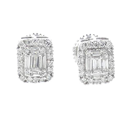 Diamond Earrings 14K White Gold 0.40ctw Baguette and Round Cut Rectangular Shaped Screw Back 7mm