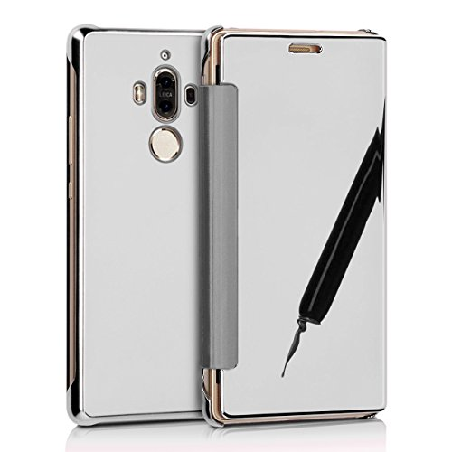 Funda Huawei Mate 9,Surakey Huawei Mate 9 Clear View Cover - Funda para Huawei Mate 9,Translucent Window View Flip Wallet Cover,Plating Make Up Mirror espejo, Case For Huawei Mate 9, Caja del Teléfono Plata Mirror