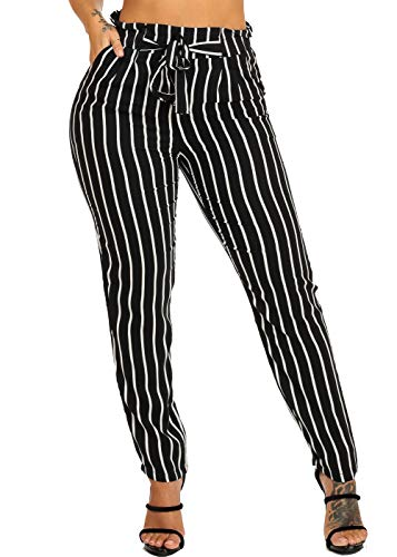 ModaXpressOnline Lightweight Black and White Stripe Ultra High Waisted Skinny Leg Pants W Front Tie Belt 41226P