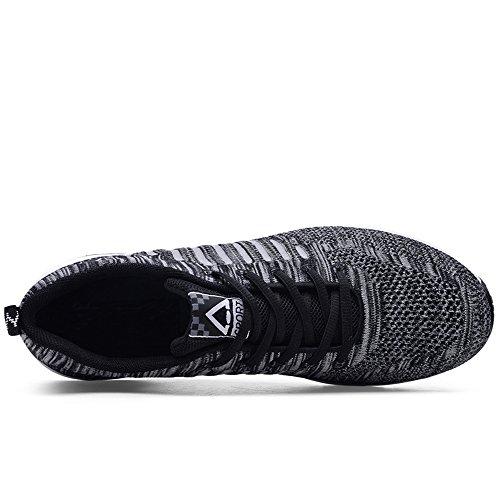 Chaussures Décontractées pour Les Hommes Les Espadrilles de Mode des Hommes Lacent des Chaussures de Course extérieures Légères Black 8026 x4VfZw8