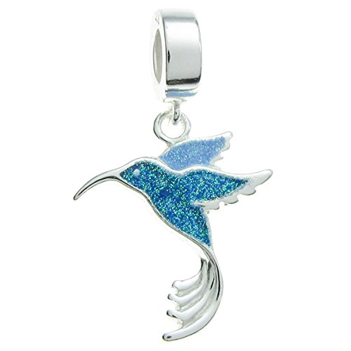 Hummingbird Charm (Sterling Silver Hummingbird Enamel European Style Dangle Bead Charm)