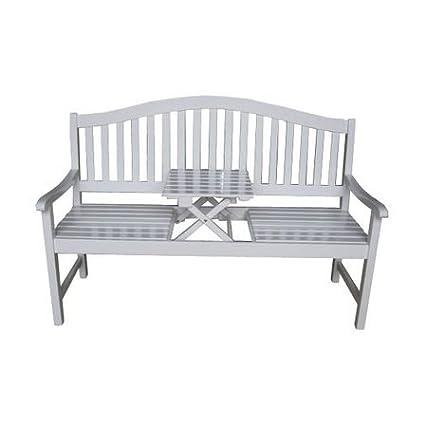 Gartenbank mit Tischablage aus FSC®- Eukalyptusholz weiß gewischt - Modell UTAH