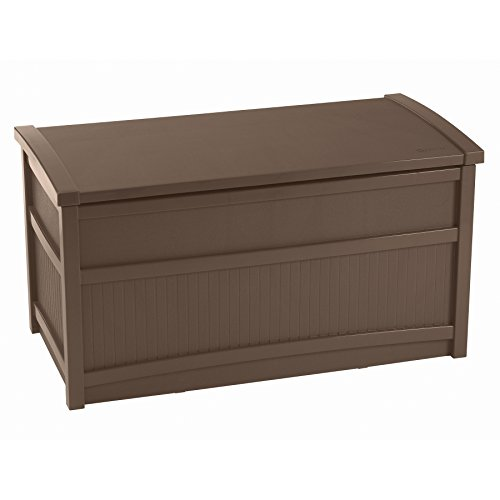 (Suncast 50 Gallon Deck Storage Box - Small Waterproof Outdoor Storage Container for Gardening Tools, Athletic Equipment and More - Store Items on Deck, Patio, Backyard - Brown )