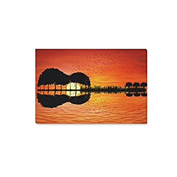 InterestPrint Shape Of Guitar Trees Reflection On Water Canvas Wall Art  Print Painting Hanging Artwork Stretched
