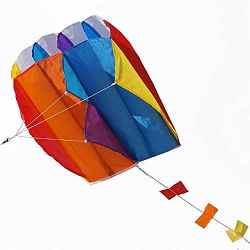 Besra Colorful Parafoil Kite with Long Tail Easy to Fly Outdoor Fun Sports for Kids & Adults(20inch) ()