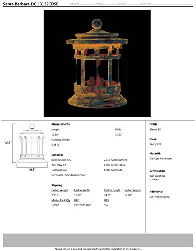 Maxim 3132CDSE Santa Barbara Cast 3-Light Outdoor Deck Lantern, Sienna Finish, Seedy Glass, CA Incandescent Incandescent Bulb , 60W Max., Damp Safety Rating, Standard Dimmable, Frosted Glass Shade Material, Rated Lumens by Maxim Lighting (Image #1)