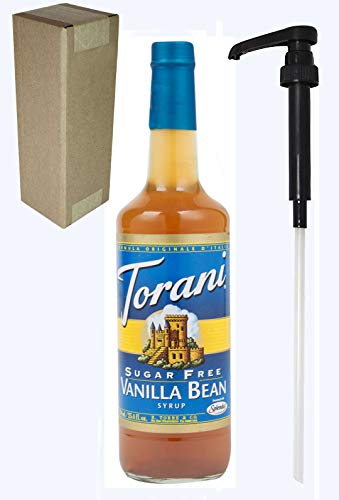 Torani Sugar Free Vanilla Bean Flavoring Syrup, 750mL (25.4 Fl Oz) Glass Bottle, Individually Boxed, With Black Pump