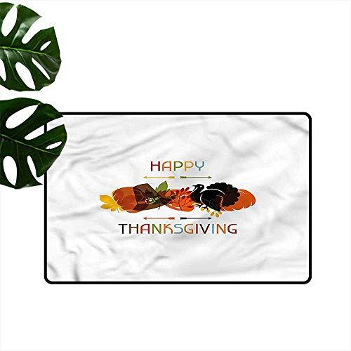 DONEECKL Washable Doormat Turkey Bird Pumpkin Pilgrim Hat Machine wash/Non-Slip W30 xL39