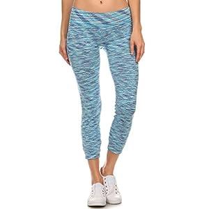 2ND DATE Women's Athletic Yoga Leggings Pants-Blue-Medium/Large