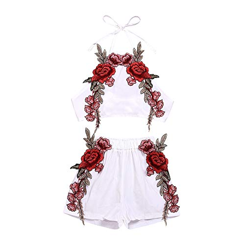 Newborn Baby Girl Embroidery Outfits Halter Backless Crop Top+Floral Shorts 2Pcs Summer Clothes Set